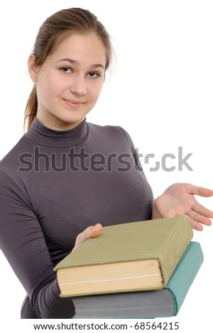 girl, giving the book on a white background