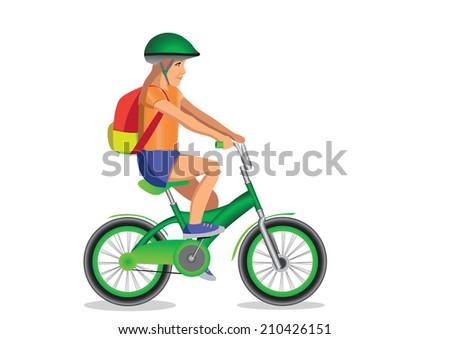 girl goes to school on bicycle - stock photo