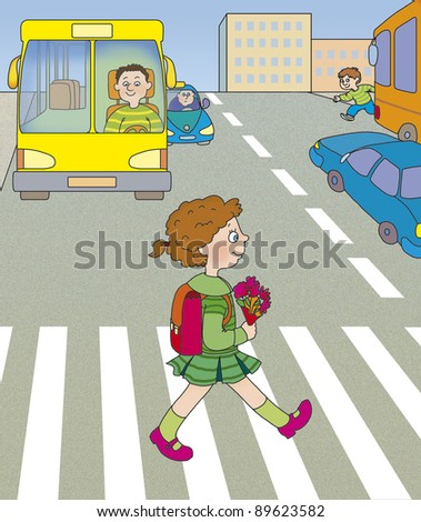 girl goes way - stock photo