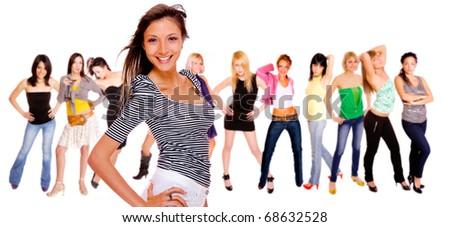 girl group isolated on white background - stock photo
