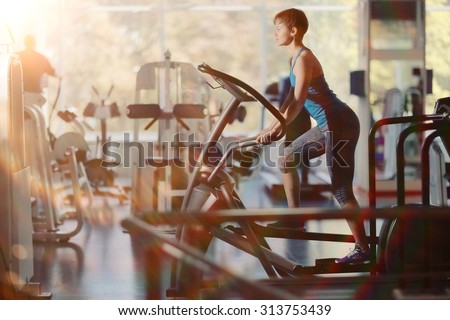 girl gym aerobics workout - stock photo