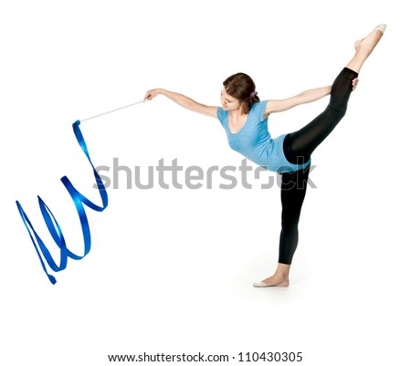 girl gymnast in blue sport suit with a ribbon - stock photo