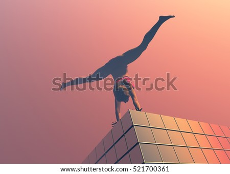 Girl gymnast on the building..3d render