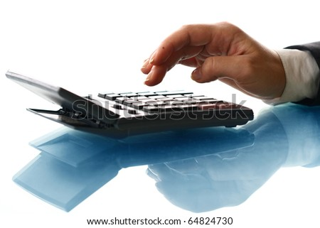 girl hand calculate - stock photo