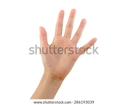 Girl hand showing five fingers isolated on white background. Number 5