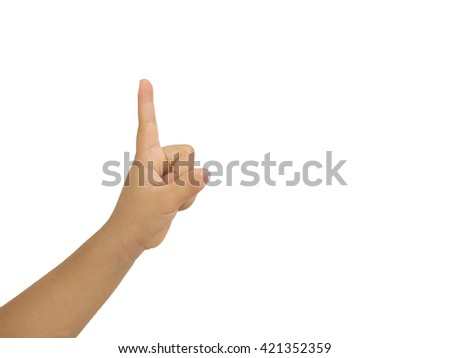 Girl hand showing one finger on white background. Number one - stock photo