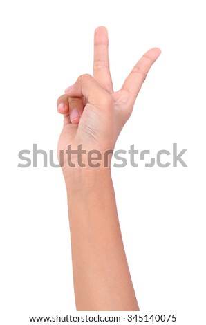 Girl hand sign isolated on white background
