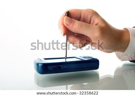 girl hand work - stock photo