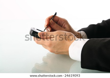 girl hand work on communicator - stock photo