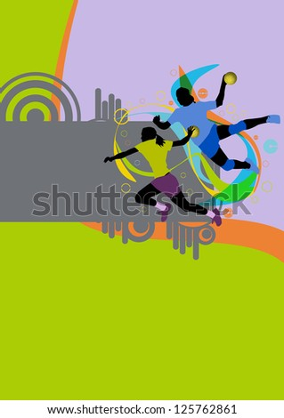 Girl handball sport poster background with space - stock photo