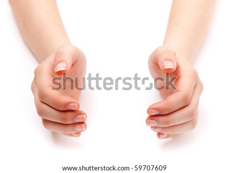 Girl hands concept isolated on white - stock photo