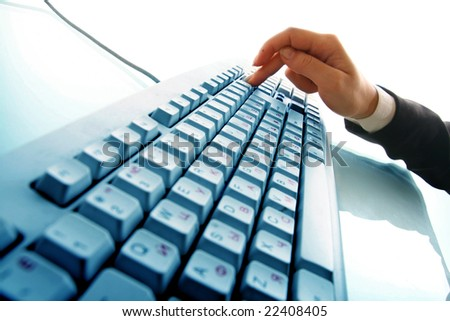 girl hands typing - stock photo