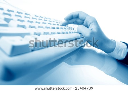 girl hands typing on keyboard