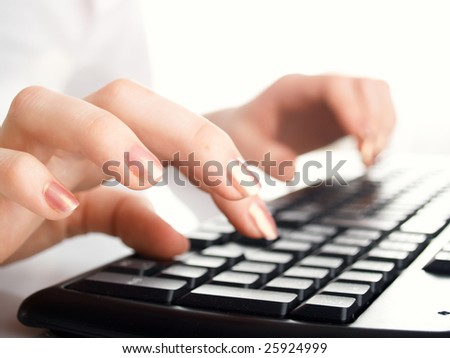 girl hands typing on the background
