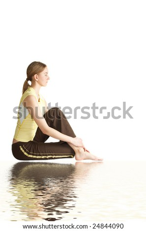 girl has a rest after training - stock photo