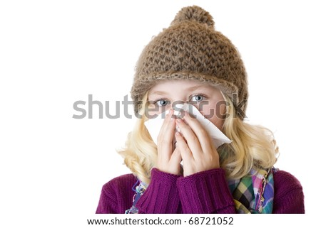 ... her nose with a tissue. Isolated on white background. - stock photo
