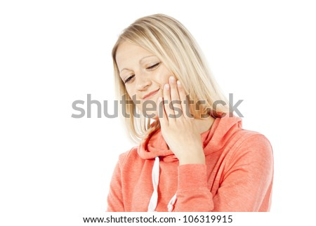 girl have a toothache isolated - stock photo