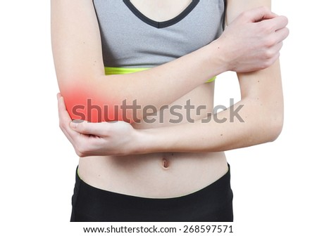 Girl having an elbow pain isolated on the white background