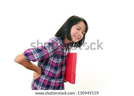 Girl  having back pain. - stock photo