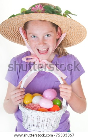 girl having fun on Easter - stock photo