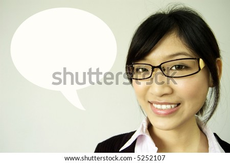 girl having talk dialogue - stock photo