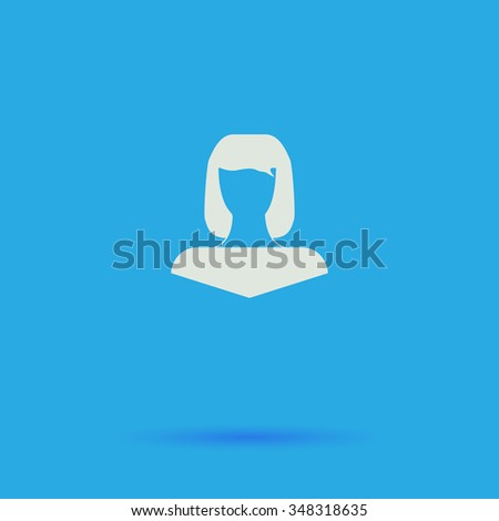 Girl head White flat simple pictogram on blue background with shadow  - stock photo