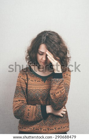girl headache - stock photo