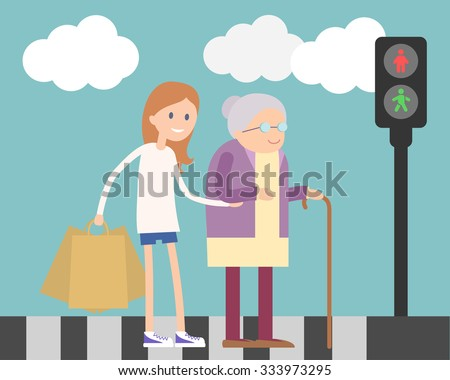 Girl helps old lady crossing road. Flat illustration about people kindness. Raster version.  - stock photo