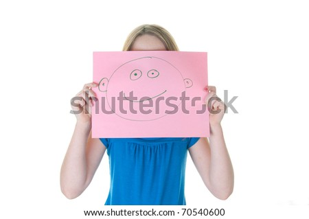 girl hiding behind happy face