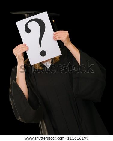 Girl Hiding Face On Black Background - stock photo