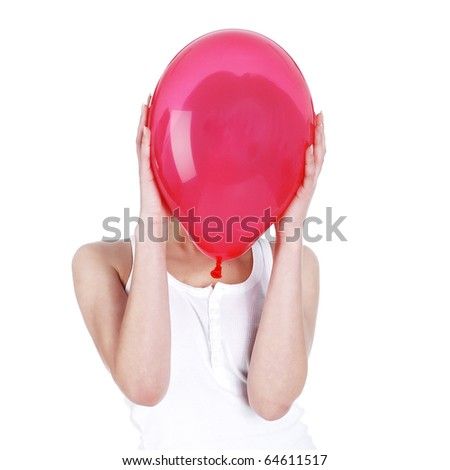 girl hiding over red balloon - stock photo