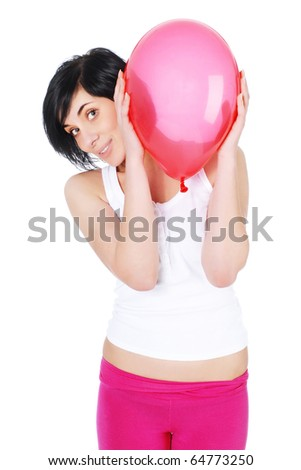 girl hiding over red balloon