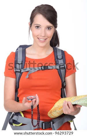 Girl hiking - stock photo