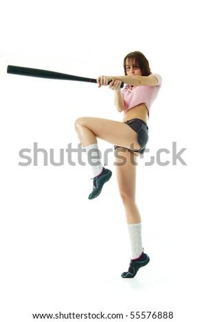 Girl hit the ball - stock photo