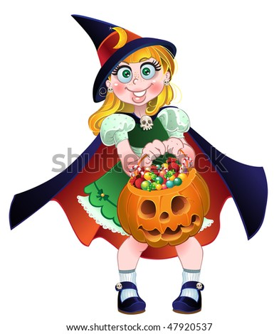 Girl hold in her hands pumpkin with a candy. raster version - stock photo