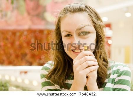 girl hold loop ahead eye - stock photo