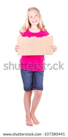 Girl holding a blank cardboard sign, isolated on white - stock photo