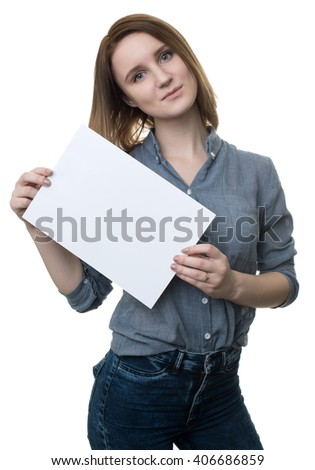girl holding a blank placard. Isolated on a white background