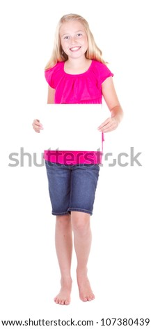 girl holding a blank white paper, isolated on white - stock photo