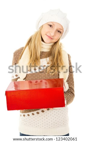 girl holding a box - stock photo