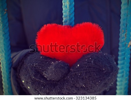 Girl holding a heart in his hands sitting in captivity. In conclusion - stock photo