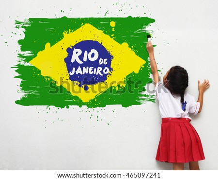 Girl holding a paint brush painting on a white wall Rio de Janeiro Brazil flag background watercolor