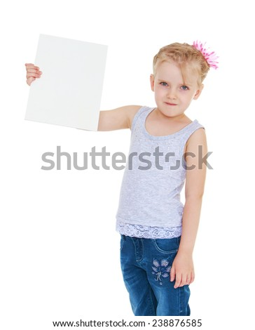Girl holding a piece of cardboard on which you can write something.Isolated on white background studio photo. - stock photo