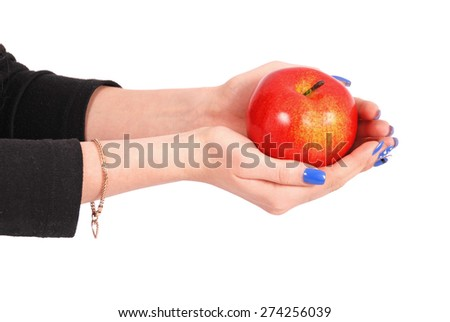 Girl holding a red apple isolated on white - stock photo