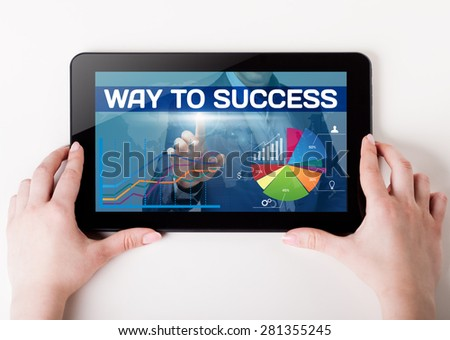 Girl holding a tablet pc which a man presses the virtual screen with text way to success. Technology, business, internet, concept. - stock photo