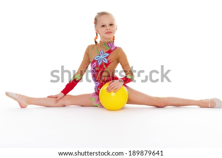 girl holding ball.Isolated on white background.