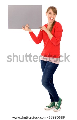 Girl holding banner add