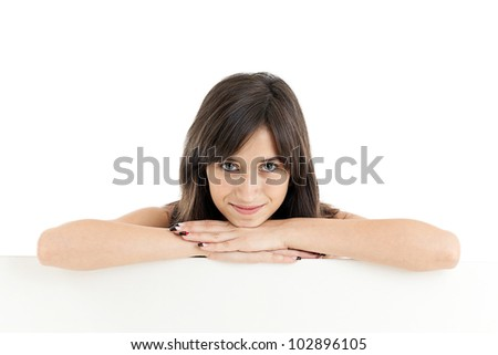 Girl holding blank board, isolated on white - stock photo