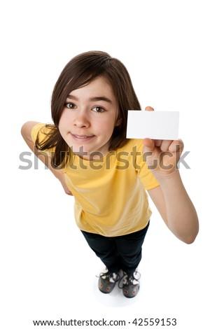 Girl holding blank card isolated on white background - stock photo