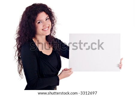 Girl Holding Blank Card. You can add your content on the blank card. - stock photo